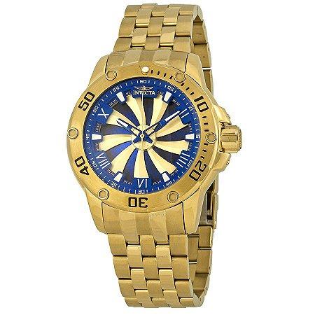 Relógio Invicta Speedway Turbine 25851 Automático 49mm Banhado Ouro 18k