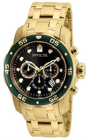 Relógio Invicta Pro Diver 80074 Cronografo 48mm Banhado Ouro 18k