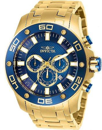 Relógio Invicta Pro Diver 26078 Cronografo 50mm Banhado Ouro 18k