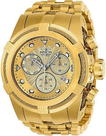 Relógio Invicta Bolt Zeus 23911 Banhado Ouro 18k 53mm Calendário Duplo