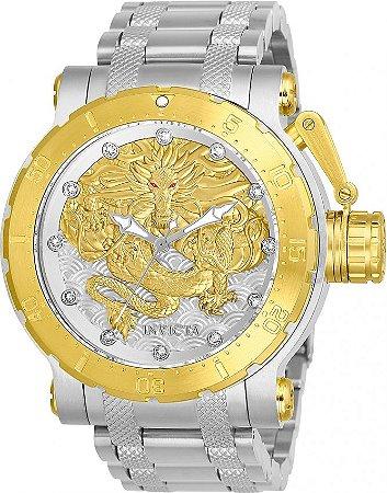 Relógio Invicta Coalition Force Dragon 26508 Automático 52mm Banhado Ouro 18k Prata Misto