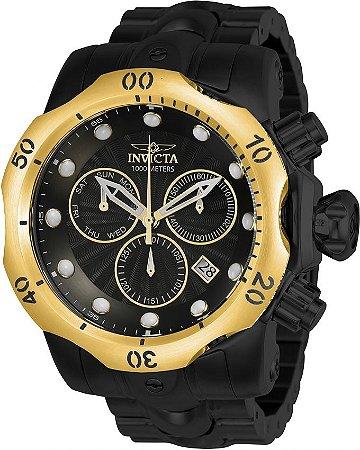Relógio Invicta Venom 23895 Preto 53.7mm Aço Inoxidável Besel Banhado Ouro 18k Cronografo