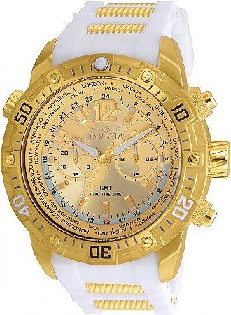 Relógio Invicta Aviator 24581 GMT 50mm Banhado Ouro 18k Pulseira Branca