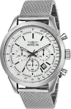 Relógio Invicta Speedway 25222 Aço Inoxidável 45mm Prata Calibre VD53 W/R 100m