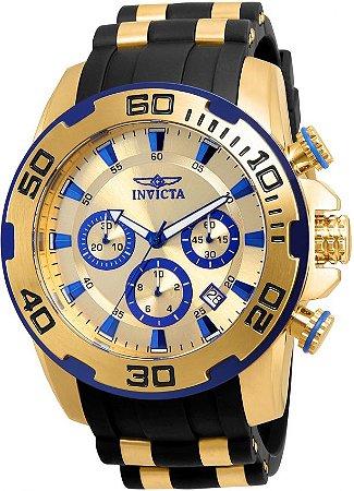 Relógio Invicta Pro Diver 22308 Cronografo 50mm Banhado Ouro 18k W/R 100m