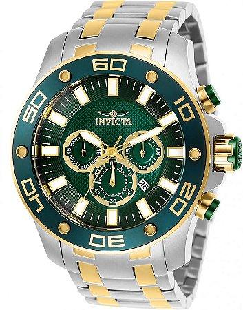Relógio Invicta Pro Diver 26083 Aço Inoxidável 50mm Detalhes Dourados Cronografo