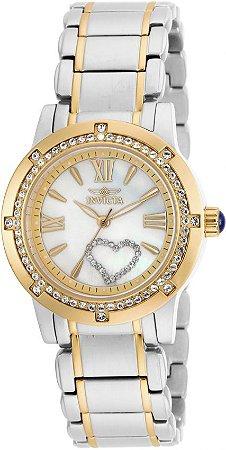 Relógio Invicta Angel 16707 Feminino 36mm Prata com Dourado Aço Inox B. Ouro 18k