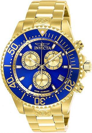 Relógio Invicta Grand Diver 26849 Cronografo 47mm Banhado Ouro 18k 300m