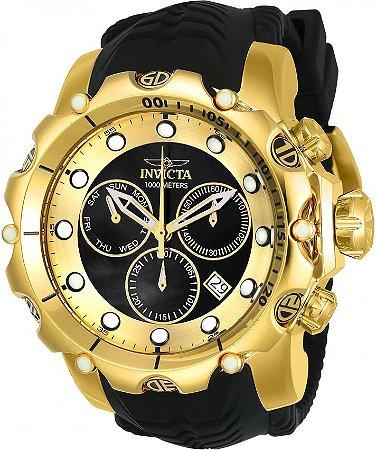 Relógio Invicta Venom Sea 20401 Calendário Duplo 55m Banhado Ouro 18k