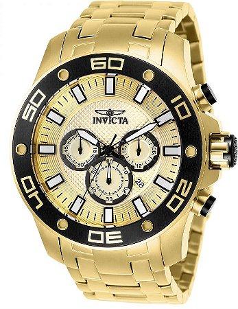 Relógio Invicta Pro Diver 26079 Cronografo 50mm Banhado Ouro 18k