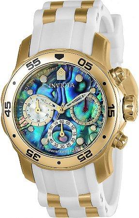 Relógio Invicta Pro Diver Lady 24831 Mostrador Abalone 38mm Banhado Ouro 18k