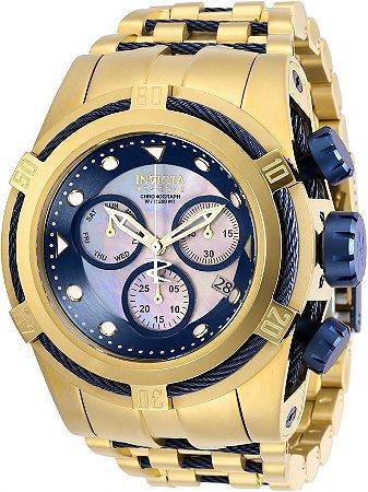 Relógio Invicta Bolt Zeus 12742 Banhado Ouro 18k Cronografo Suiço Z60 53mm