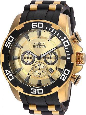 Relógio Invicta Pro Diver 22346 Cronografo 50mm B. Ouro 18k Pulseira Preta