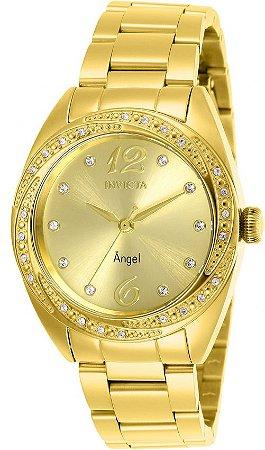 Relógio Invicta Angel Feminino 27457 Banhado Ouro 18k Swiss 40mm