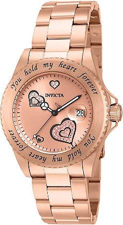Relógio Invicta Angel Collection 14734 Feminino 40mm Banhado Ouro Rose