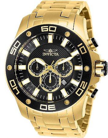 Relógio Invicta Pro Diver 26076 Cronografo 50mm Banhado Ouro 18k