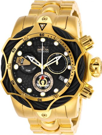 Relógio Invicta Venom 26654 Reserve Banhado Ouro 18k Swiss 52.5mm Cronografo