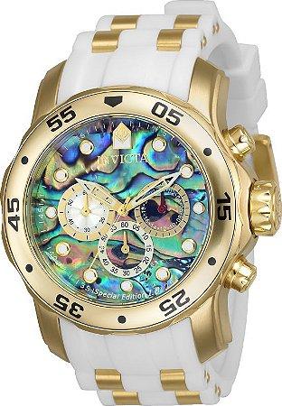 Relógio Invicta Pro Diver 24840 Mostrador Abalone 48mm Banhado Ouro 18k