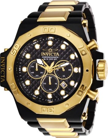 Relógio Invicta Akula 23100 Banhado Ouro 18k 58mm Cronografo 300m