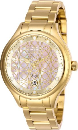 Relógio Invicta Angel Lady 27765 Dourado 38mm Banhado Ouro 18k