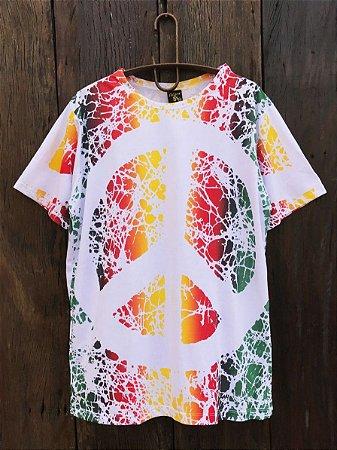 Camiseta Indiana Masculina Tie-Dye Paz e Amor Branca