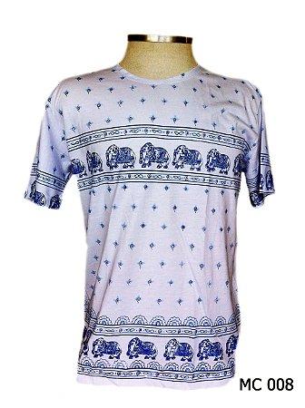 Camiseta Indiana Masculina Elefantes Azul