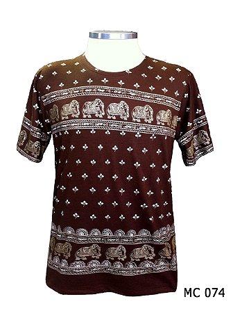 Camiseta Indiana Masculina Elefantes Marrom