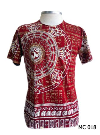 Camiseta Indiana Masculina Mandala Om Vermelha