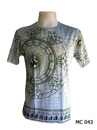 Camiseta Indiana Masculina Mandala Flor de Lótus Branca e Verde