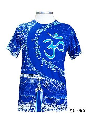 Camiseta Indiana Masculina Mandala Mantra Om Azul