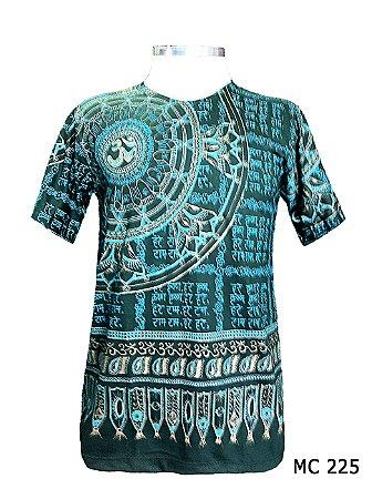 Camiseta Indiana Masculina Mandala Flor de Lótus Om Verde