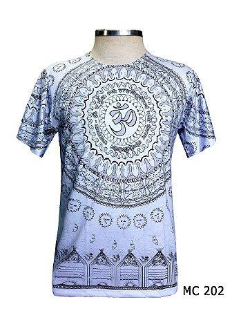 Camiseta Indiana Masculina Mandala Mantra Om Branca Cores
