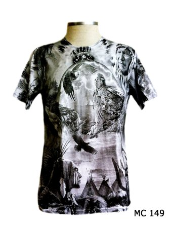 Camiseta Indiana Masculina Xamânica Cinza