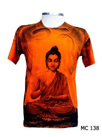 Camiseta Indiana Masculina Buda Mantra Om Laranja