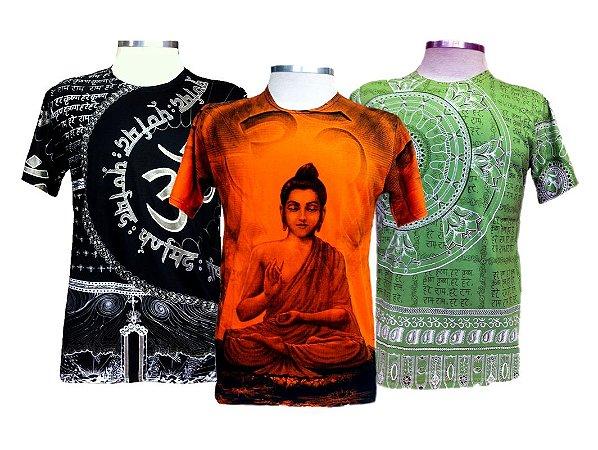 Kit 3 Camisetas Indianas Masculinas Várias Estampas