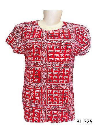 Camiseta Indiana Feminina Sânscrito Vermelha