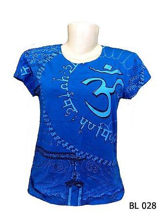 Camiseta Indiana Feminina Mantra Om Azul