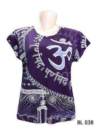 Camiseta Indiana Feminina Mantra Om Roxa