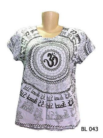 Camiseta Indiana Feminina Mantra Om Branca
