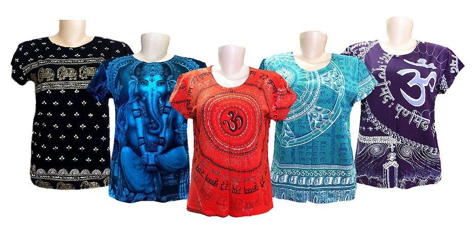 Kit 5 Camisetas Indianas Femininas - Várias Estampas