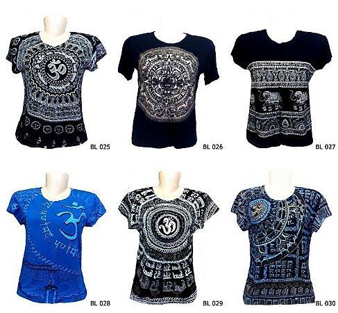 Lote/Kit 20 Camisetas Indianas Femininas Atacado Várias Estampas