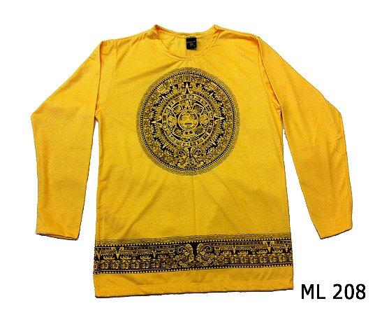 Blusa Manga Longa Indiana Masculina Mandala Asteca Amarela