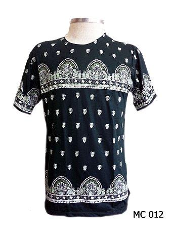 Camiseta Indiana Masculina Mandalas Preta