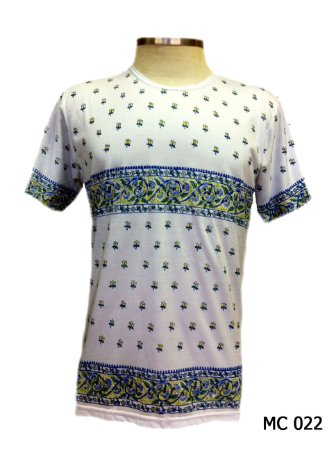 Camiseta Indiana Masculina Mandala Branca e Azul