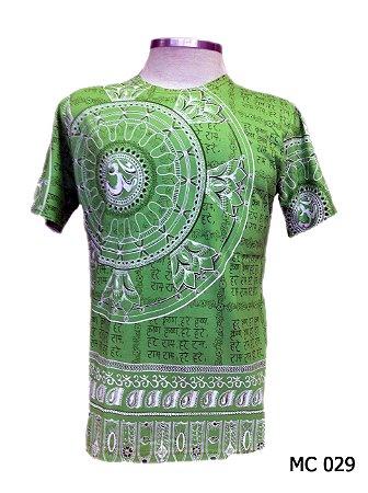 Camiseta Indiana Masculina Mantra Om Flor de Lótus Verde