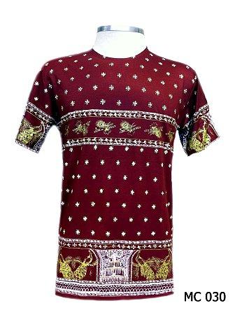 Camiseta Indiana Masculina Estampa Étnica Vinho