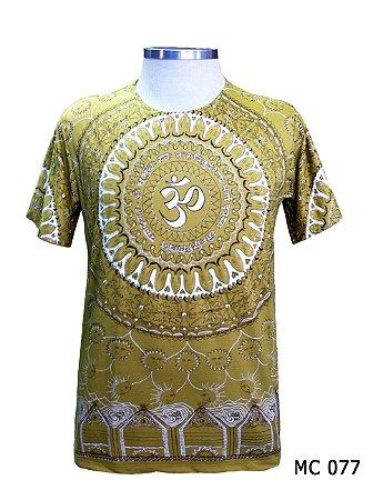 Camiseta Indiana Masculina Mandala Mantra Om Amarela