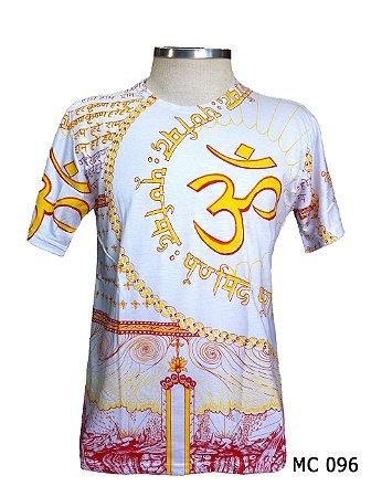 Camiseta Indiana Masculina Mantra Om Branca e Amarela