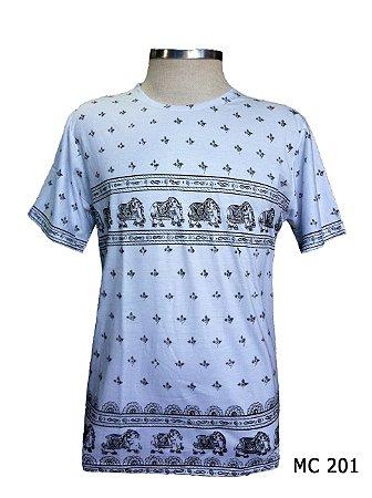 Camiseta Indiana Masculina Elefantes Branca