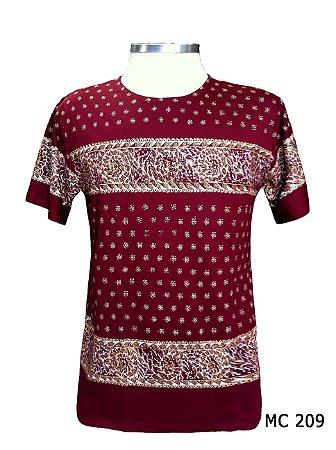 Camiseta Indiana Masculina Ondas Vinho
